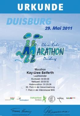 Urkunde Rhein-Ruhr-Marathon 2011