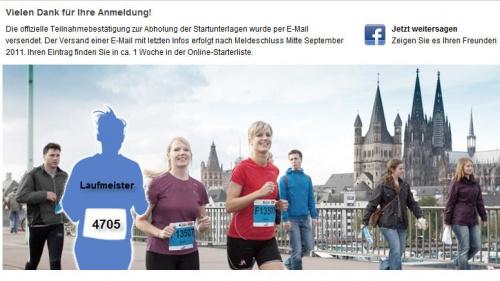Anmeldung Köln Marathon 2011