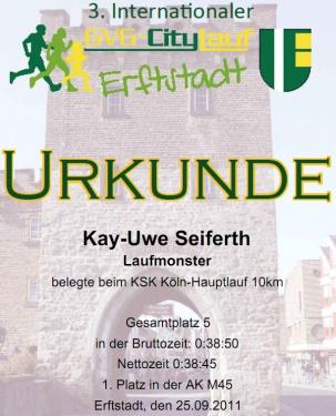 Urkunde Citylauf Erftstadt 2011