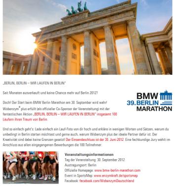 Enzymkraft 100 Startplätze Berlin Marathon