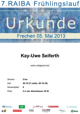 Urkunde Frechen 2013 Einzel