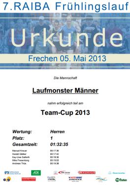 Urkunde Frechen 2013 Mannschaft