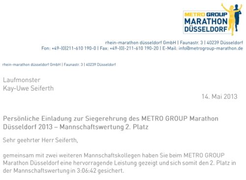 Einladung Siegerehrung Düsseldorf Marathon