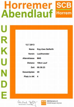 Urkunde Horremer Abendlauf 2013