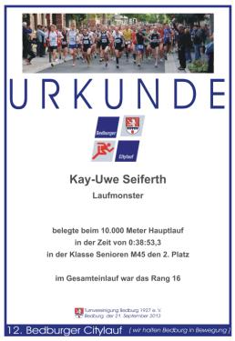 Urkunde Bedburger Citylauf 2013