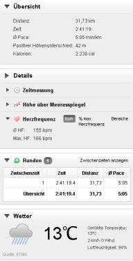 8. Langer Lauf über 31,73 km