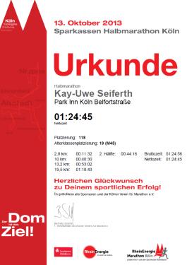 Urkunde Halbmarathon Köln 2013