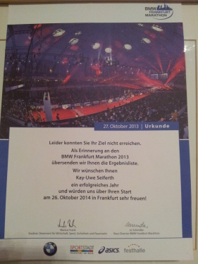 Urkunde DNF Frankfurt Marathon