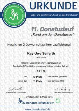 Urkunde 11. Donatuslauf 2015