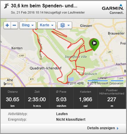 Lauf 21.02.16 30,6 km