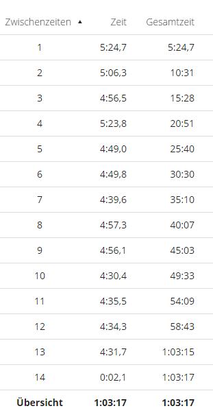 Lauf 13.03.17 Zwischenzeiten
